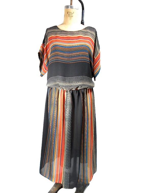 1980s Striped Blouson Dress by John's Girl - Plus Size Vintage - Flowy Boho Bohemian - Size 24