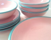 Mid-Century RIO Stoneware Dinnerware Set Made in Japan in the 1960's Pink and Turquoise Dinnerware Set