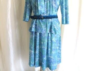 Vintage 70s womens skirt blouse dress suit Plus size XL aqua turquoise bow tie