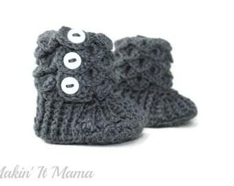 Baby Booties, Grey Crochet Crocodile Baby Slipper Booties, Made to Order