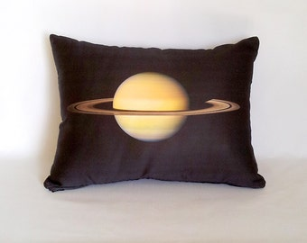 Yellow Saturn Planetary Pillow - NASA Outer Space Photo on Fabric, Science Geek Decor