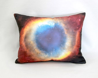 Helix Nebula Rainbow Space Object Pillow Cover - NASA Outer Space Photo on Fabric; Multi Color Rainbow