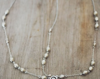 Silver Rosary Headpiece