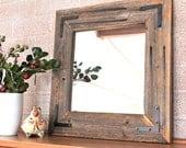 Small Rustic Modern Mirror - Reclaimed Wood Mirror - 18x18 Framed Mirror - Bathroom Mirror - Home Decor - Hurd and Honey