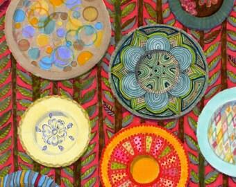 Decorative Wall Plates - Print of Original Pen and Marker Art 3