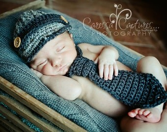 Infant boy hat baby newborn boy hat newsboy hat and necktie crochet brim hat baby boy photography prop grey gray charcoal - MADE TO ORDER