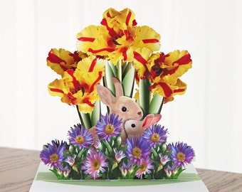 Pop up rabbits and flowers card Any occasion available in two sizes