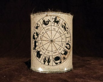 Candle holder/ luminary with real leaf paper Zodiac Wheel