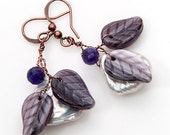Purple Dangle Earrings, Amethyst Earrings, Leaf Earrings, Spring Jewelry - CherylParrottJewelry