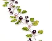 Green and Purple bridal hair crown,  leaf bridal hair vine,  bridal hair accessories, wedding accessories, Rustic Wedding, Winter Wedding