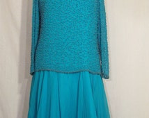 BEADED SILK GOWN /// Maison Magique Turquoise Pearl Beaded Dress ///  Beaded Dress