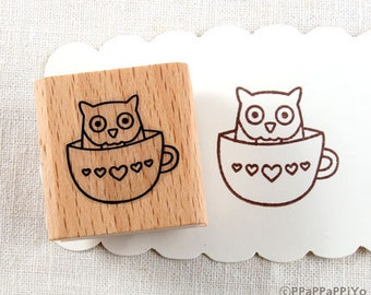 50% OFF SALE OWL in a teacup Rubber Stamp