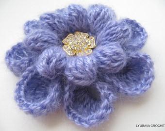 Crochet Flower PATTERN-Crochet Brooch-Craft Supply-Flower Brooch-Crochet Jewelry-DIY Crafts-Instant Download Pdf-Lyubava Pattern No.82