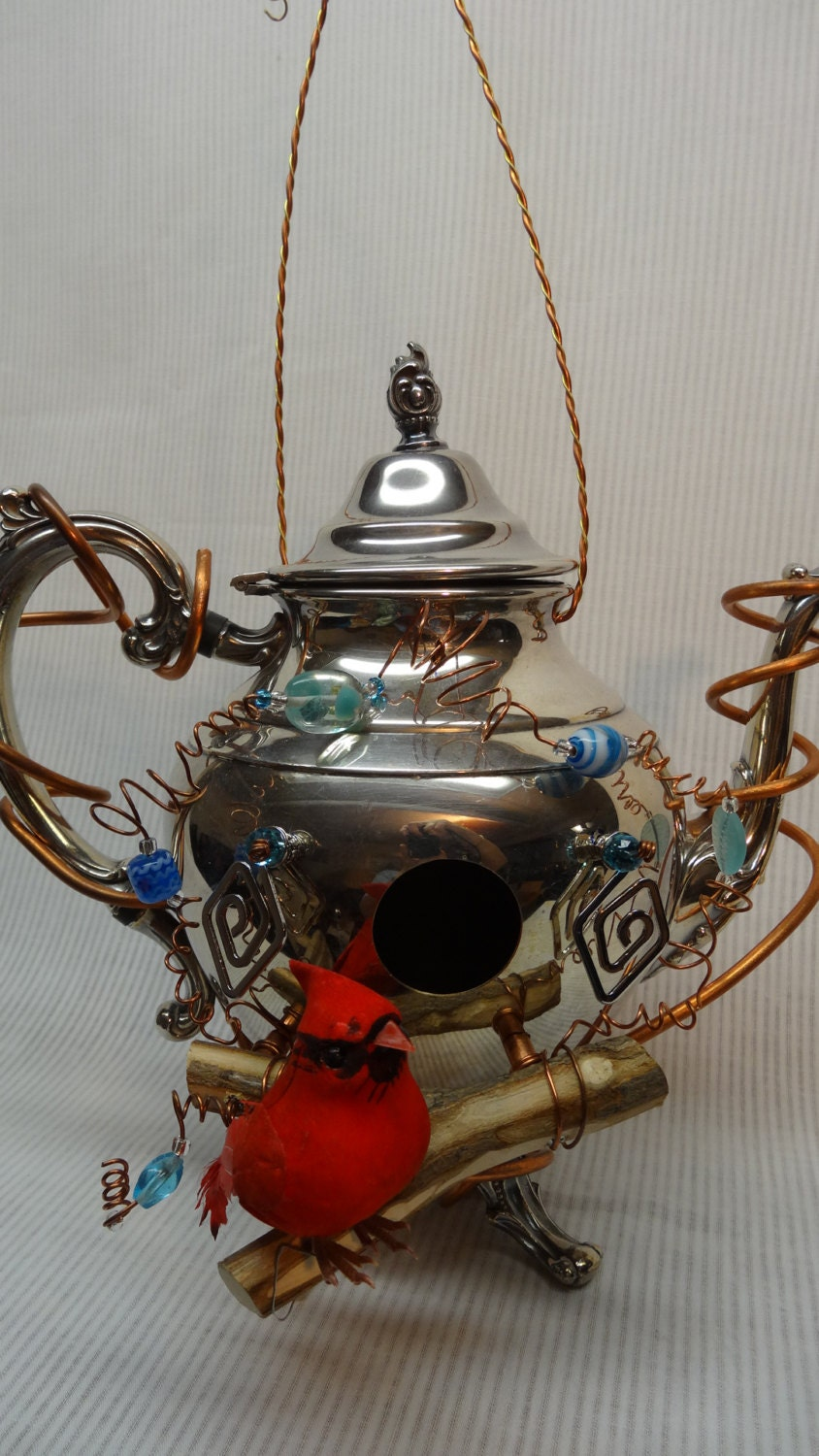 Whimsical Handmade Recycled Silver Plated Teapot Birdhouse