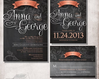 chalkboard Wedding Invitation, file only