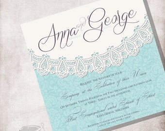 Lace Vintage Wedding Invitation DIY Printable, FILE ONLY