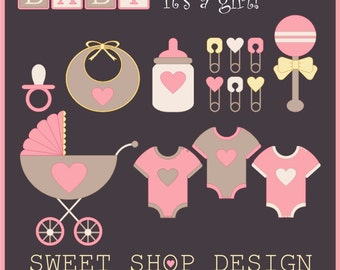 Baby Shower Clip Art, Baby Girl Clip Art, Royalty Free Clip Art, Instant Download