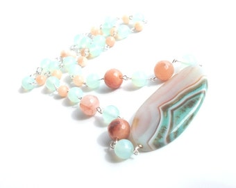 Agate and Peach Jade Statement Necklace- Spring, Summer, Beach Inspired