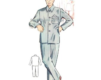 Plus Size (or any size) Vintage 1950s Men's Pyjama Pants Pattern - PDF - Pattern No 185b Edward Pyjama Pants