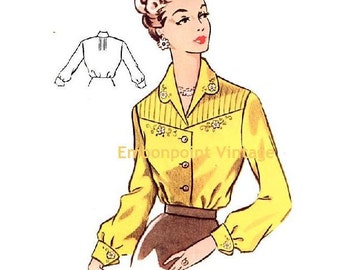 Plus Size (or any size) Vintage 1950s Blouse Pattern - PDF - Pattern No 98 Terri