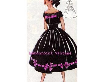 Vintage Sewing Pattern 1956 Dress PDF Plus Size (or any size)  - Pattern No 7 Migdalia