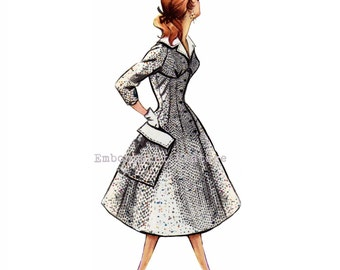 Vintage Sewing Pattern 1956 Swing Dress PDF Plus Size (or any size)  - Pattern No 32 Gertrude
