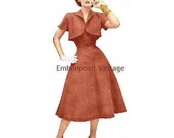 Plus Size (or any size) Vintage 1949 Dress & Bolero Sewing Pattern - PDF - Pattern No 85 Mona