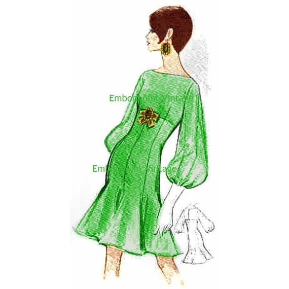 Plus Size (or any size) Vintage 1969 Dress Pattern - PDF - Pattern No 141 Nanette