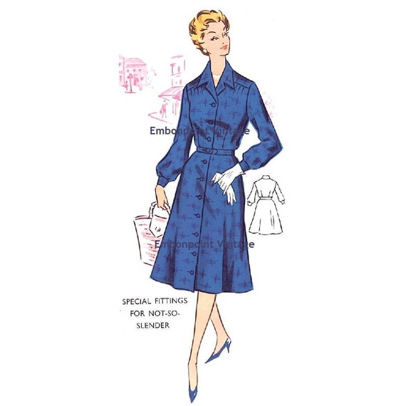 Plus Size (or any size) Vintage 1950s Dress Pattern - PDF - Pattern No 36: Shirley