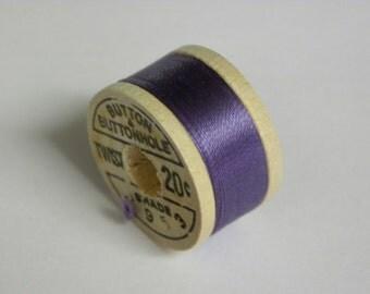 Vintage 1930's-1940's Corticelli Silk Buttonhole Silk Twist Embroidery Thread 10 Yd Wooden Spool Size D Shade 8953 Iris Purple