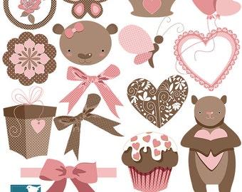 SALE Pink Teddy Bear Digital Clipart - Girl Clip art - Scrapbook, card design, invitations, stickers, paper crafts, web design