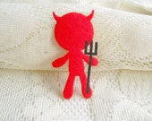 Felt Applique Iron on Applique Red Devil ,  Manchester United, kawaii applique shirt bag kid baby toys bag decoration, baby shower