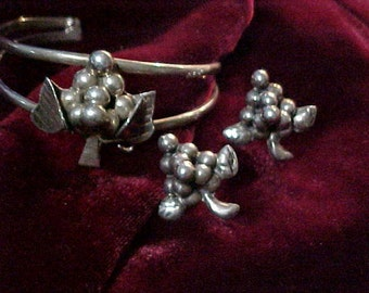 Taxco Vintage Sterling Mexican Bracelet & Earrings Grape Theme  Wine Lovers Delight