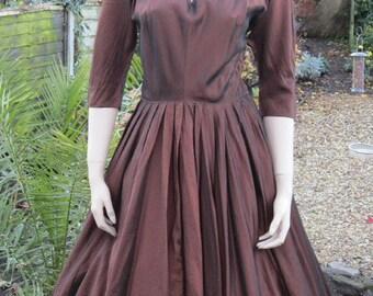 Vintage 50s dress Henry Rosenfeld bronze cocktail dress full circle skirt  Bust 36