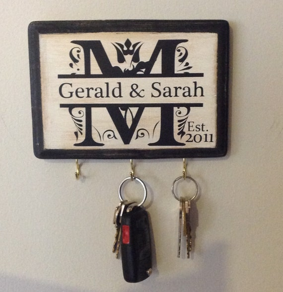 Personalised Wedding Gift Etsy : Personalized Wedding Gift- Monogram Key Holder. Awesome for Engagement ...