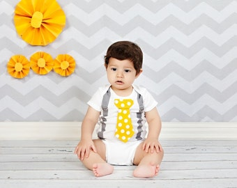 Yellow and Grey Boy Tie Bodysuit with Suspenders - Pick your own