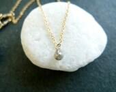 Diamond Briolette Necklace - Natural Silver Gray Petit Diamond on 14k Gold-filled Necklace - April Birthstone