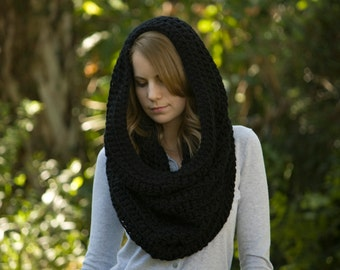 Hooded Cowl, Black Hood, Crochet Scarf, Infinity Scarf, Oversized Cowl