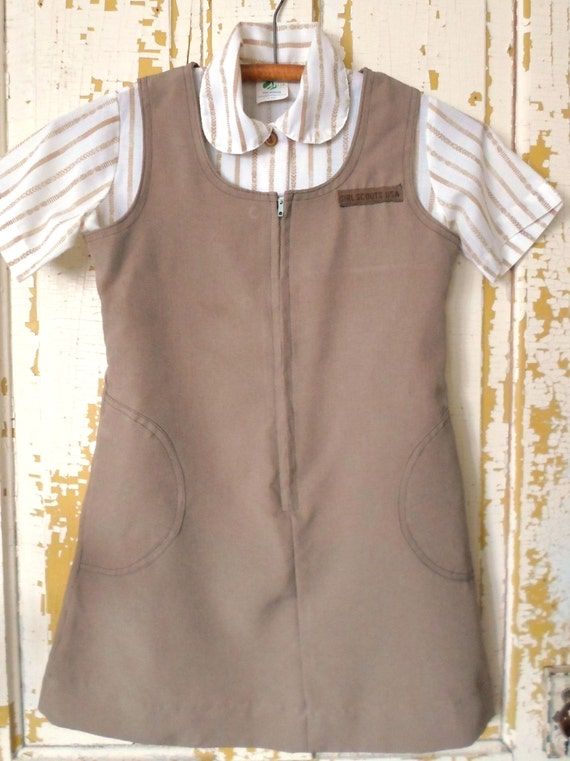 Vintage 70's Brownie Girl Scout Uniform A Line Jumper With Stripe Shirt Size 10 Two Piece Set 100% Polyester