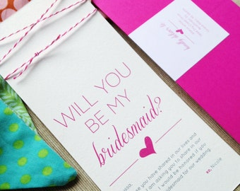 """Hot Pink Twine """"Will You Be My Bridesmaid"""" Card and Envelope"""