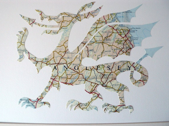 Welsh dragon - Made in Great Britain from a vintage map of Wales