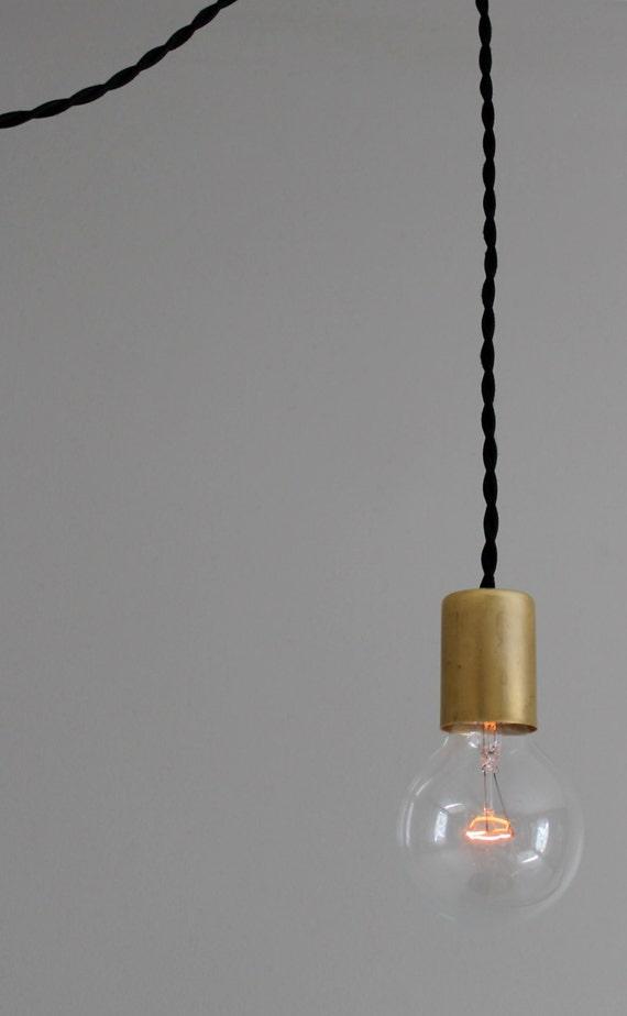 Modern black and brass bare bulb pendant light for Modern minimalist lighting