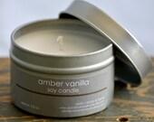 Amber Vanilla Soy Candle Tin 4 oz. - vanilla soy candle - musk soy candle - unisex soy candle - fall soy candle - romantic soy candle