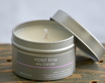 SALE - Violet Lime Soy Candle Tin 4 oz. - lime soy candle - violet soy candle - summer soy candle - fresh scent candle - spring scent candle