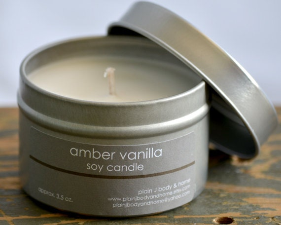 Amber Vanilla Soy Candle Tin 4 oz. - vanilla soy candle - musk soy candle - unisex soy candle - fall soy candle - romantic soy candle