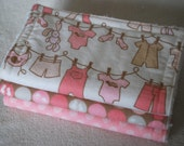 Burp Cloth Set- Baby Girl Pink & Fabic - For Nancy
