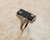 Antique 14k White Gold Black Onyx and Diamond Ring - SITFineJewelry