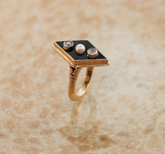 Vintage Ring - Vintage 14k Rose Gold Black Onyx, Diamond and Seed Pearl Ring