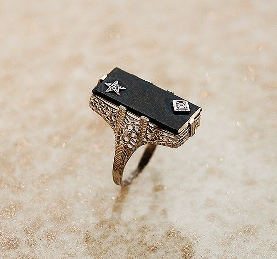 Antique 14k White Gold Black Onyx and Diamond Ring