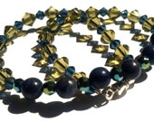 Khaki Green and Blue Anklet, Swarovski, Aventurine